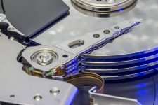 a high tech picture of an internal hard disk